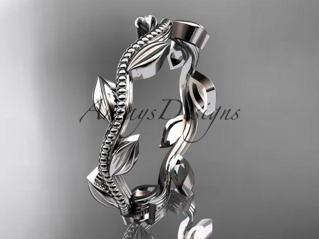 زفاف - 14k white gold leaf and vine wedding band,engagement ring ADLR4G