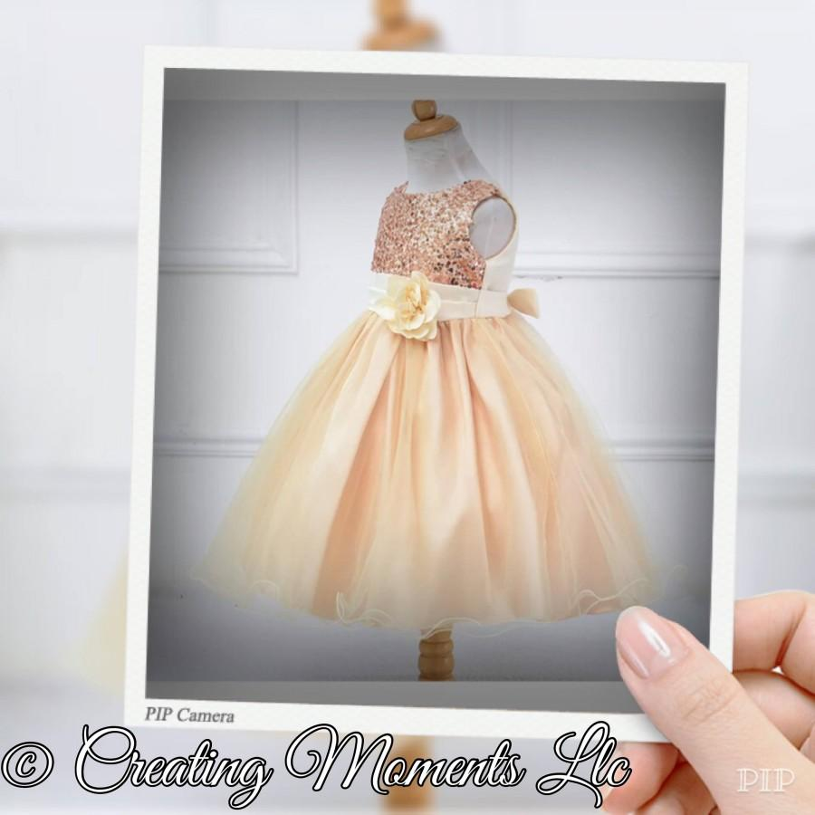 Mariage - Glitter sequin flower girl wedding dress. Pageant Gown. Tutu gown with flower, bridesmaid, mini bride dress