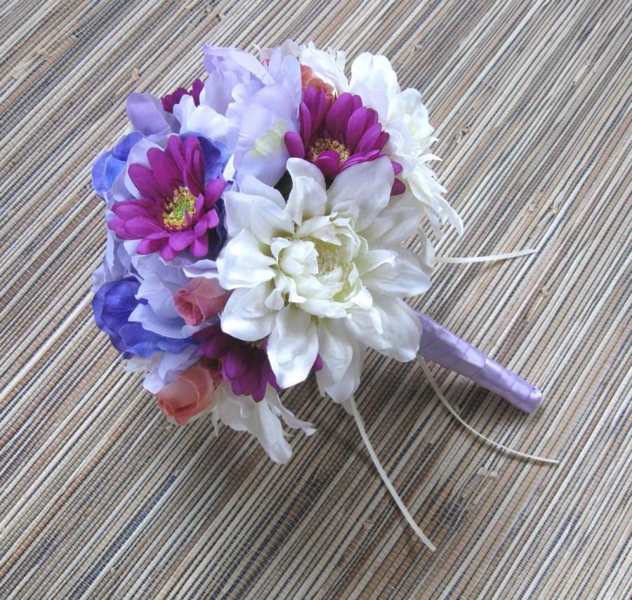 Mariage - Silk Bridal Bouquet, Spring/ Summer Wedding Bouquet, White Dahlia, Lavender Peony, Blue Hydrangea, Vibrant Purple Daisies