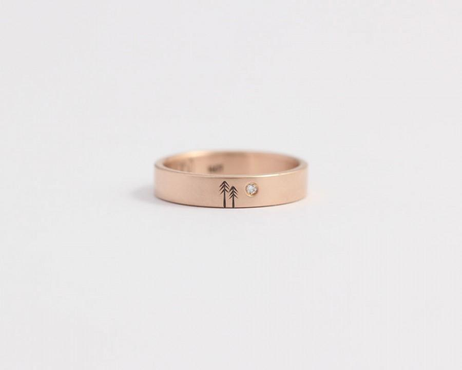 Mariage - Rose gold engagement ring or diamond wedding Band Rose Gold and Conflict-Free Diamond 4mm 14ct Rose Gold