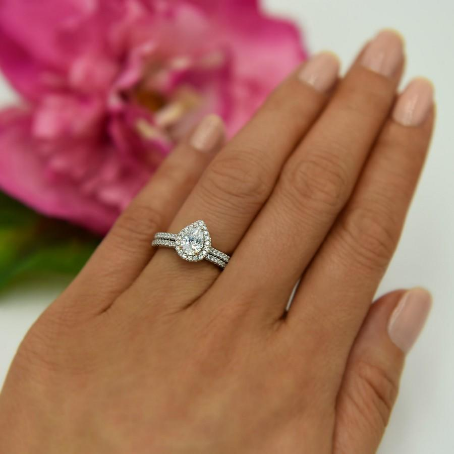 Mariage - New 1 ctw Classic Pear Cut Halo Engagement Ring, Wedding Set, Man Made Diamond Simulants, Half Eternity Ring, Sterling Silver, Stacking Ring