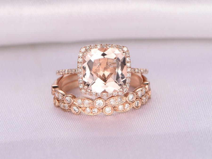 d0e7003b481f7c 3pcs Wedding Ring Set,Morganite Engagement ring,9mm Big Cushion,14k Rose  gold,Art deco diamond Matching Band,8-PRONGS,Personalized for her