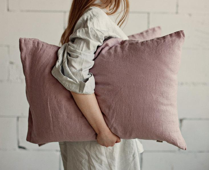 Wedding - Wood rose linen pillow case. Stone washed flax cover.