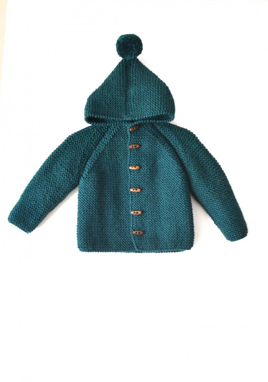 Boda - Hand Knitted baby wool hoodie cardigan/Jacket, Chunky, Duffel Coat, Raglan with pom pom, picture color bottle green