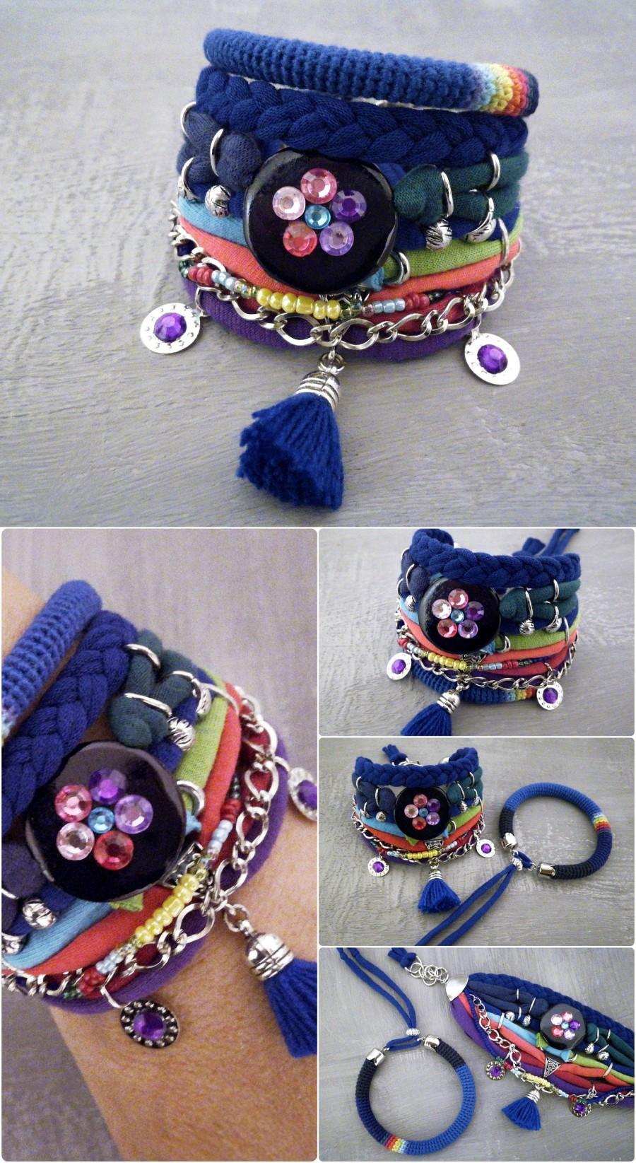 Mariage - Bohemian Bracelet Aurora Borealis, Bohemian Jewelry Jersey Bracelet, Crochet Bracelet, Galaxy Boho Bracelet Set Northern Lights