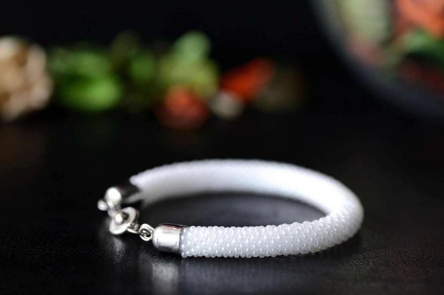 "Hochzeit - Beaded bracelet ""White"" - Bead crochet bracelet, White, Beaded rope, Beaded crochet, Handmade, Beadwork, Gift for her, Jewelry, Casual style"