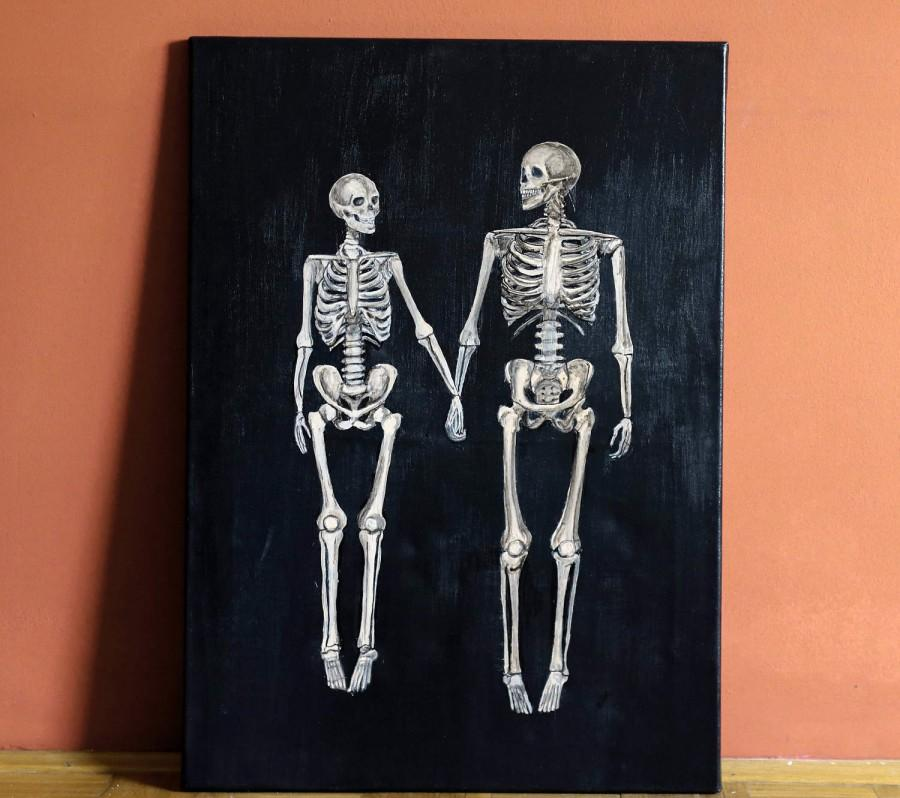Hochzeit - skeleton art love painting couple canvas wall art,life death acrylic canvas painting,halloween gothic art anatomy human skeleton dark art