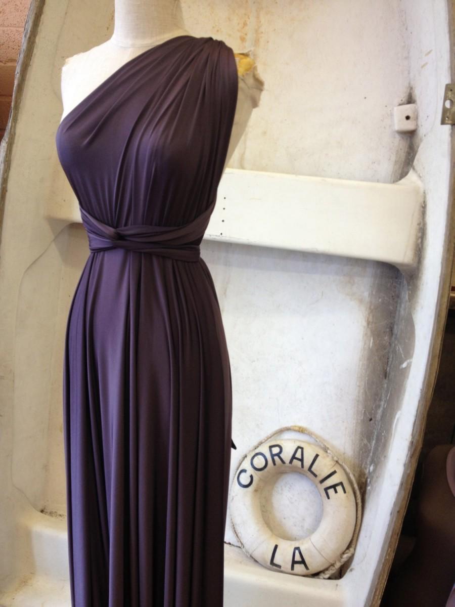 e95f4034b976 Vintage Titanic Plum Satin Jersey Octopus Convertible Infinity Wrap Dress