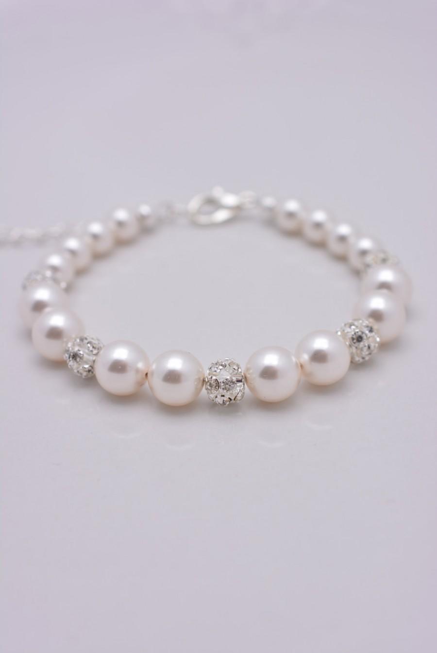 Hochzeit - Pearl and Rhinestone Bracelet Wedding Bracelet, Pearl Bridal Bracelet, Swarovski Pearl Bracelet, Adjustable Bridesmaid Pearl Bracelet 0210