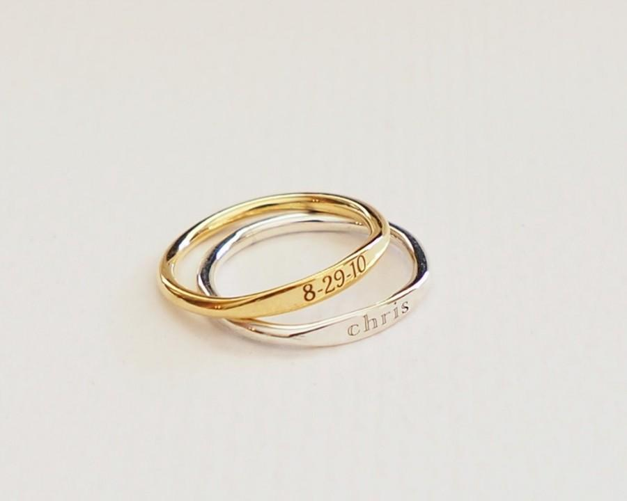 Mariage - Skinny Name Ring in Sterling Silver • Personalized Stackable Rings • Custom Minimalist Ring • Message Ring • Bridesmaids Gift • RM21F41