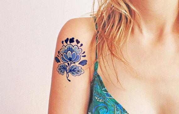 زفاف - Regal blue vintage flower - Temporary tattoo