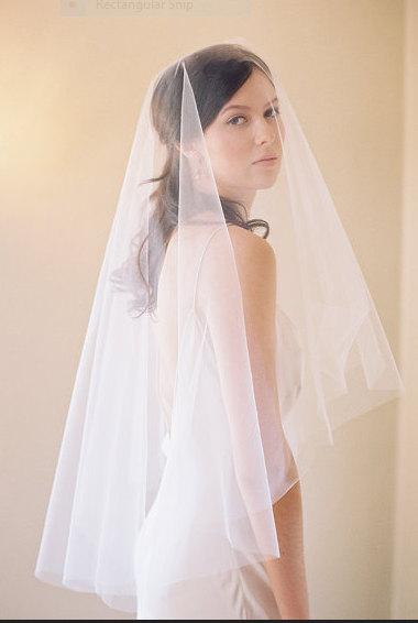 Свадьба - Veil, Wedding Veil , Drop Veil , Vintage Modern Mantilla,  Mantilla, Plain Veil,  Bridal Veil, Cathedral Veil  - No Gathers