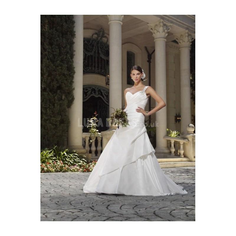 Wedding - Timeless Fit N Flare Taffeta One Shoulder Sleeveless Floor Length Wedding Dresses - Compelling Wedding Dresses