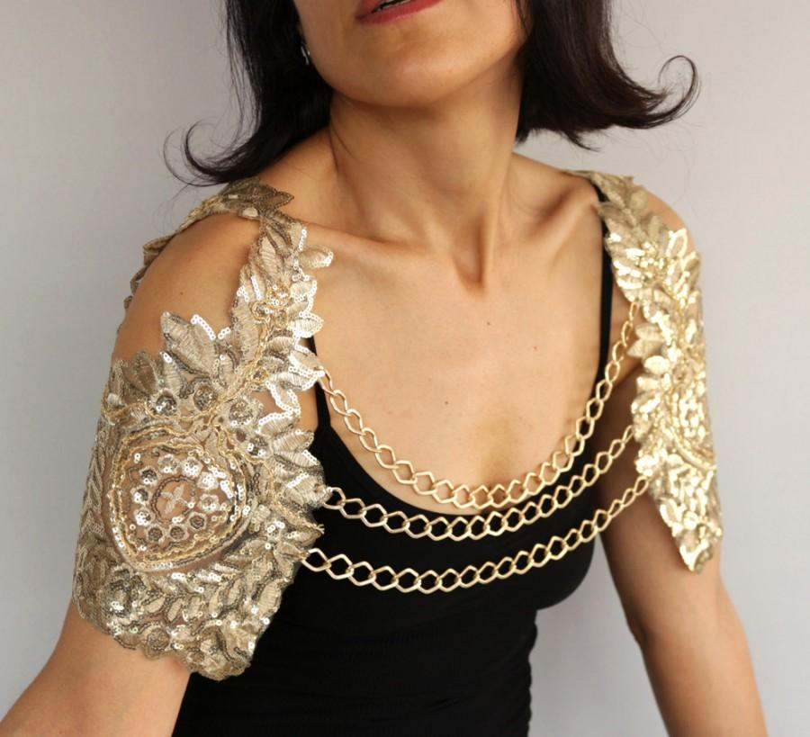 Wedding - Bridal Harness Shrug, Gold Sequin Shoulder Cover Wing Sleeves Bolero Wedding Cape Festive Fashion Evening Wear Chain Necklace Modern Jewelry