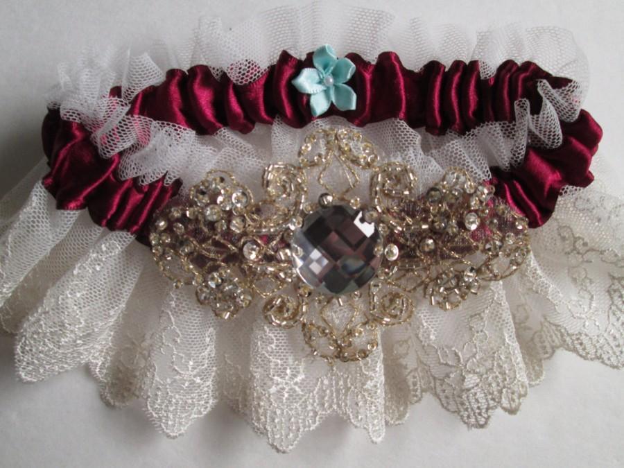Mariage - Marsala Red Garter Set, Ivory Lace Garters, Champagne Garter, Wine Red / Maroon / Cranberry Bridal Garters, Vintage Rustic Garter
