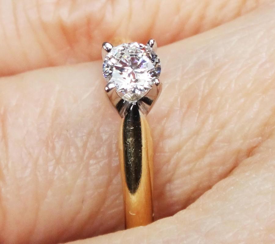 Mariage - Vintage Diamond Ring 14k Gold Engagement Ring Round Diamond Engagement Ring 14k Diamond Ring Solitaire Promise Wedding Bridal Size 6
