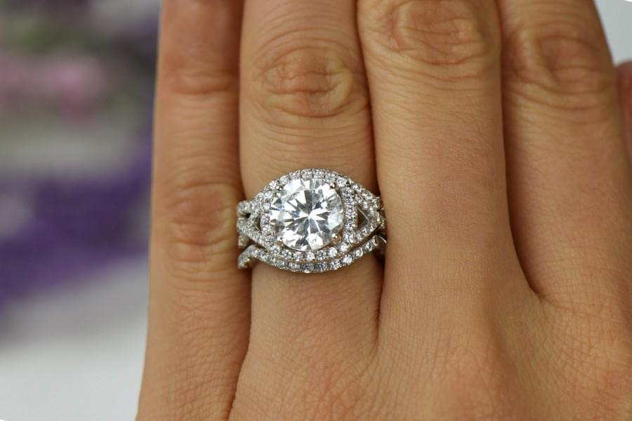 Mariage - 3.25 ctw 3 Band Twisted Halo Wedding Set, Engagement Ring, Infinity Ring, Man Made Diamond Simulants, Round Bridal Ring, Sterling Silver