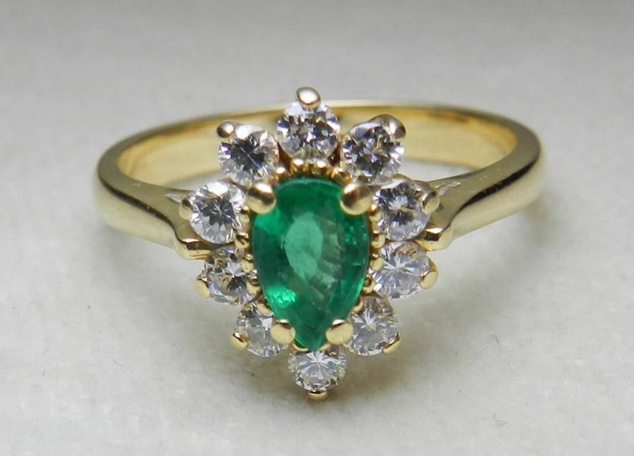 Mariage - Vintage Emerald Ring Emerald Engagement Diamond Halo Ring Pear shape Columbian Emerald half carat total weight diamonds 18k yellow gold