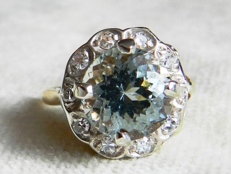 Wedding - Aquamarine Ring Antique 1920's Engagement Ring 2.7ct natural Aquamarine 0.33cttw Diamond Halo Ring yellow gold platinum March Birthstone