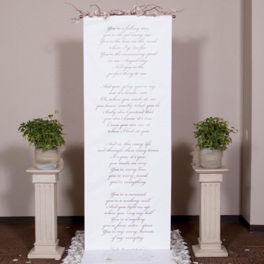 handwritten style wedding ceremony backdrop for your altar with