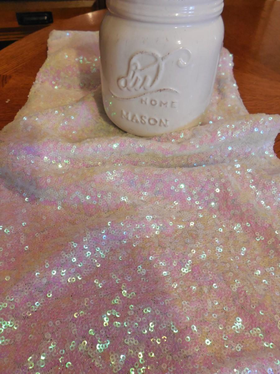 Hochzeit - Sequin Mermaid Pink on White Iridescent Table Runner Various Sizes