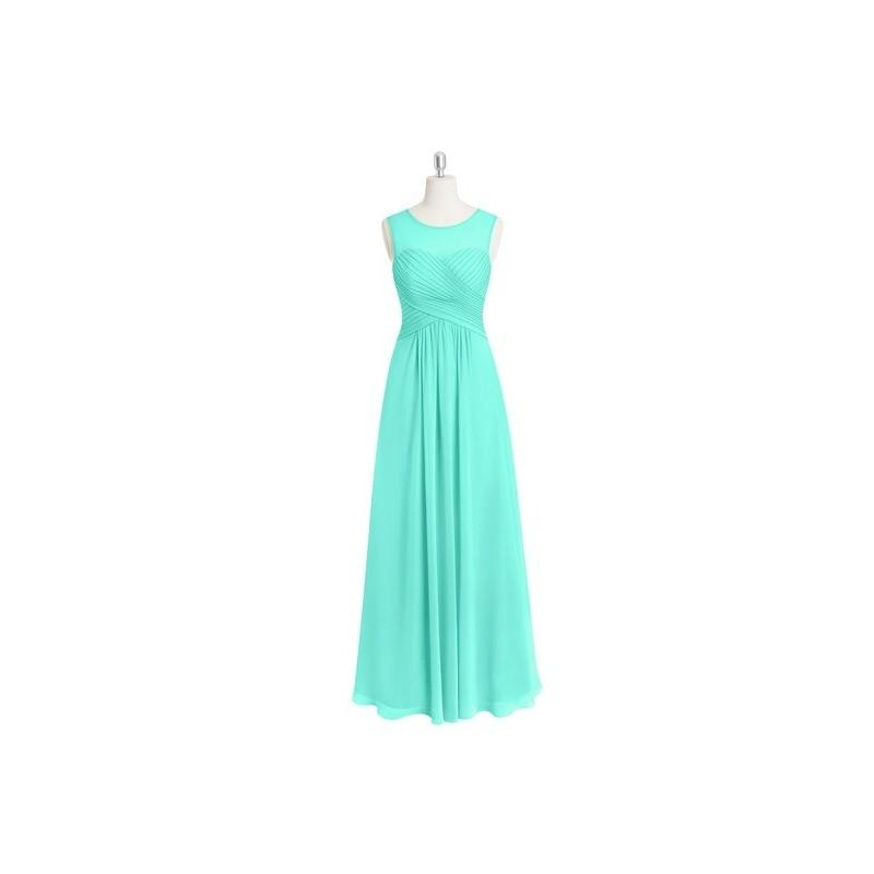 Wedding - Spa Azazie Gigi - Floor Length Scoop Illusion Chiffon Dress - Charming Bridesmaids Store