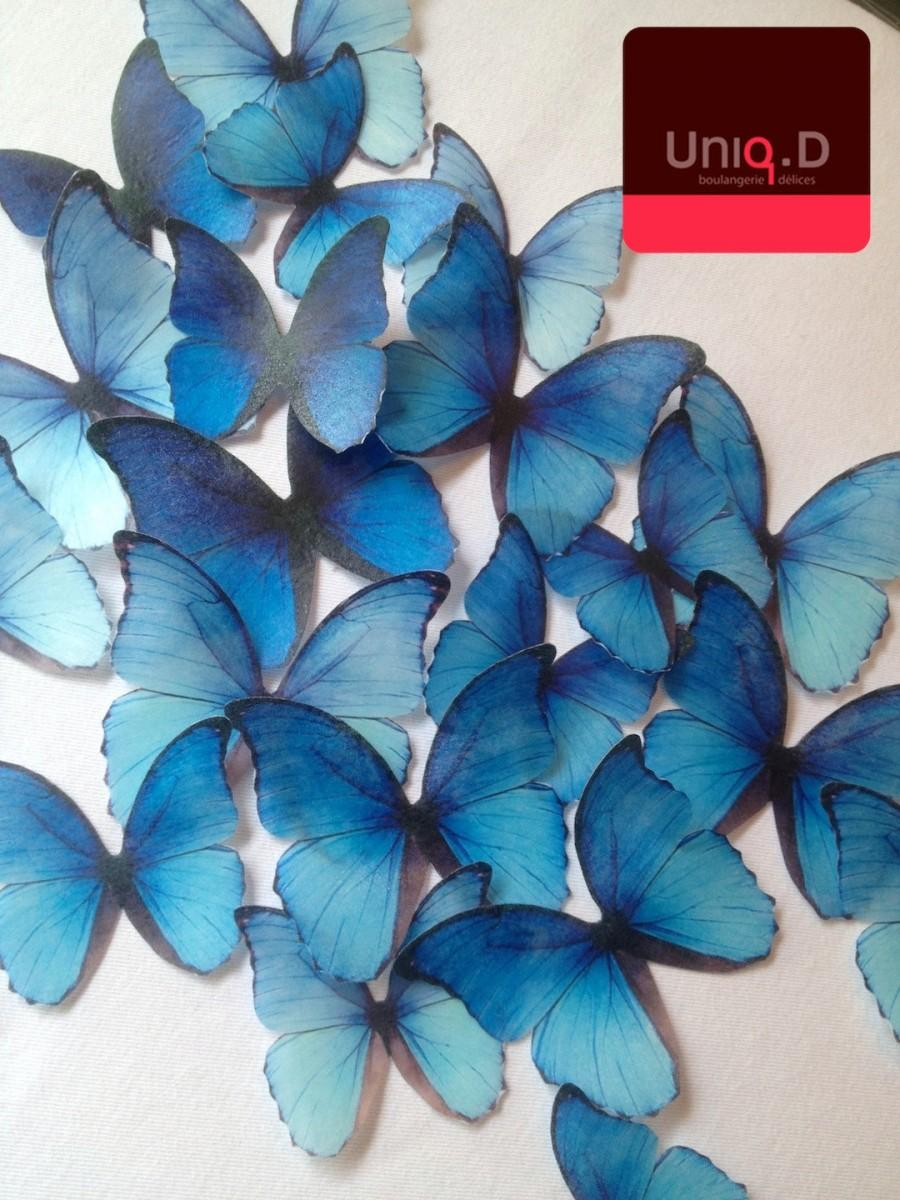 Mariage - royal blue edible butterflies - BUY 29 get 3 FREE wedding cake decoration - edible cupcake toppers by Uniqdots on Etsy