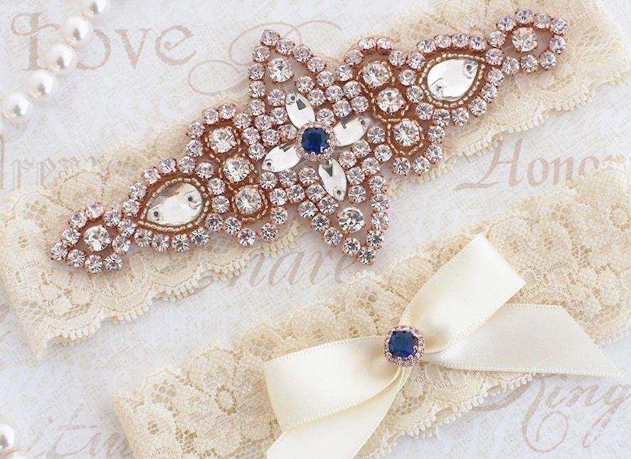 Boda - Best Seller - CHLOE II - Rose Gold Sapphire Blue Wedding Garter Set, Lace Garter, Rhinestone Crystal Bridal Garters, Something Blue