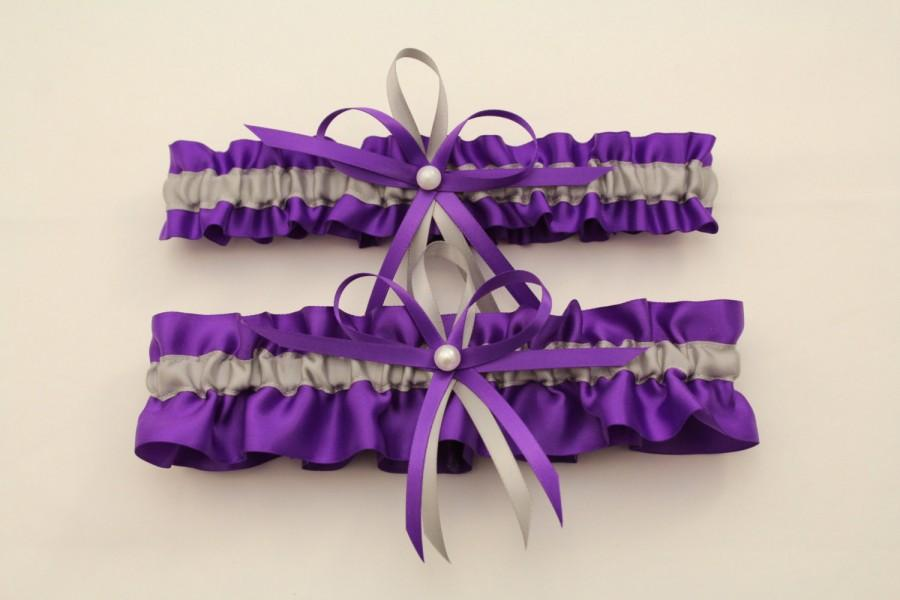 Wedding - Purple and Silver/Grey Wedding Garter, Bridal Garter Set-(Your Choice, Single or Set)