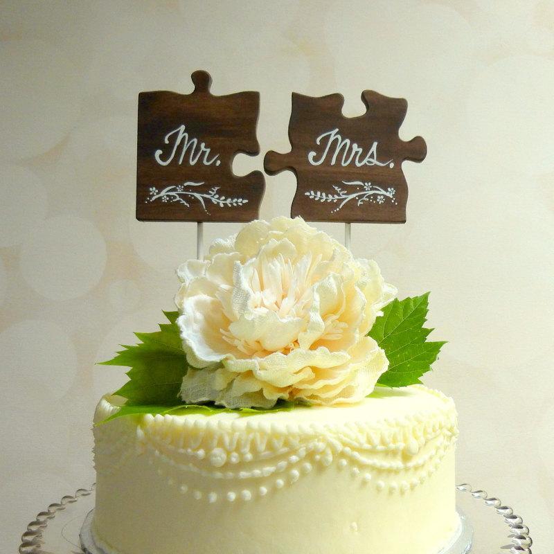 Mr/ Mrs Wedding Cake Topper, Wooden Wedding Cake Topper, Puzzle ...