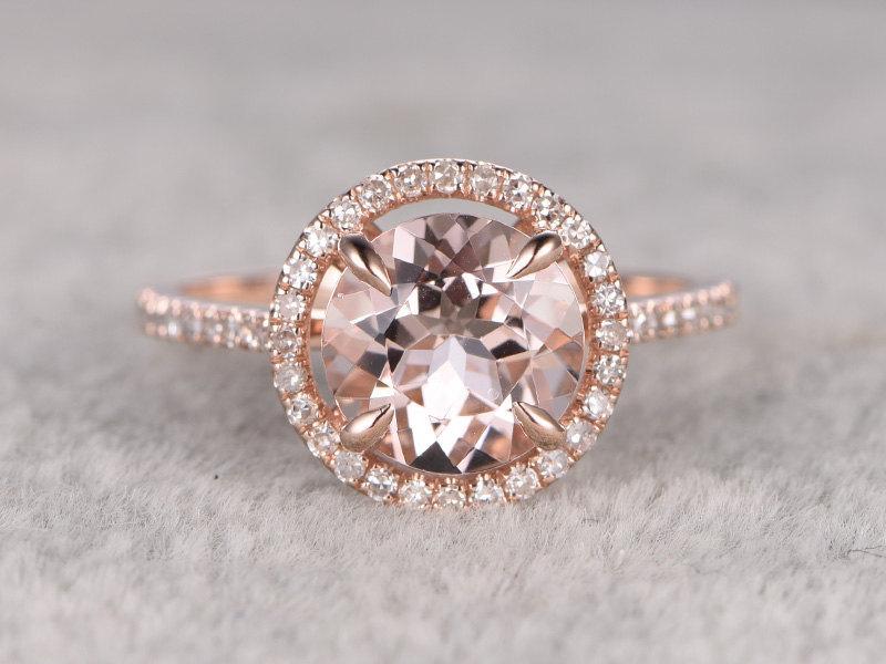 Mariage - 8mm Morganite Engagement ring Rose gold,Diamond wedding band,14k,Round Cut,Gemstone Promise Bridal Ring,Claw Prongs,Pave Set,Handmade