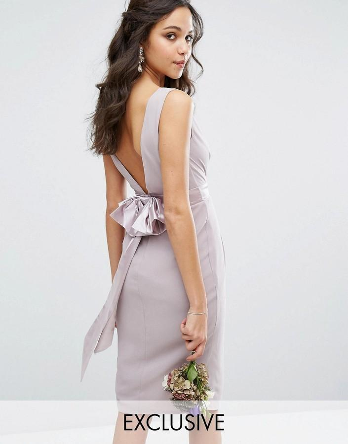زفاف - TFNC WEDDING Wrap Midi Dress With Bow Back