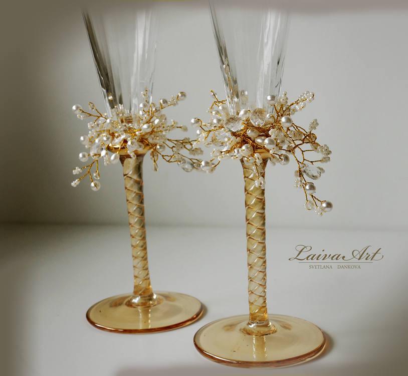 Mariage - Gold and Ivory Wedding Champagne Flutes Wedding Champagne Glasses Toasting Flutes Gold Wedding Gatsby Style Wedding Set of 2