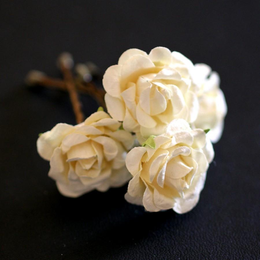 Mariage - Ivory Cream Rose, Bridal Hair Accessories, Bohemian Wedding Hair Accessory, Ivory Hair Flower, Brass Bobby Pins - Set of 4