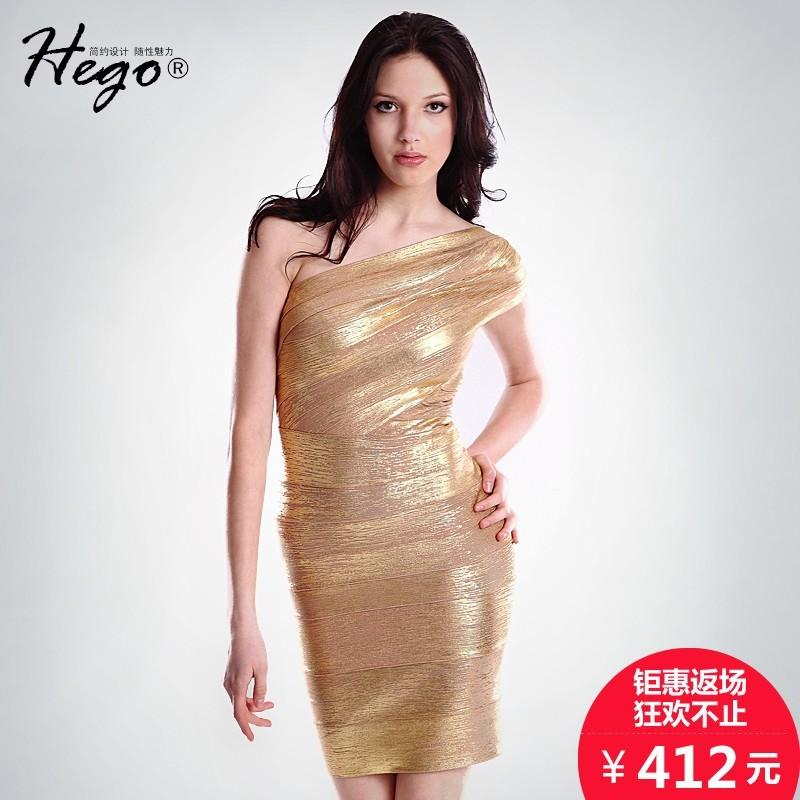 Wedding - Stars of luxury one-shoulder temperament strapless party dress bandage dress gold woman - Bonny YZOZO Boutique Store