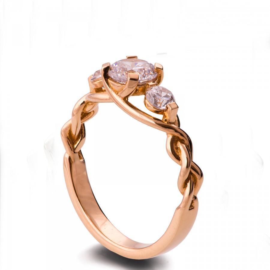 0ede6fec2b85c Braided Engagement Ring - 18K Rose Gold And Diamond Engagement Ring ...