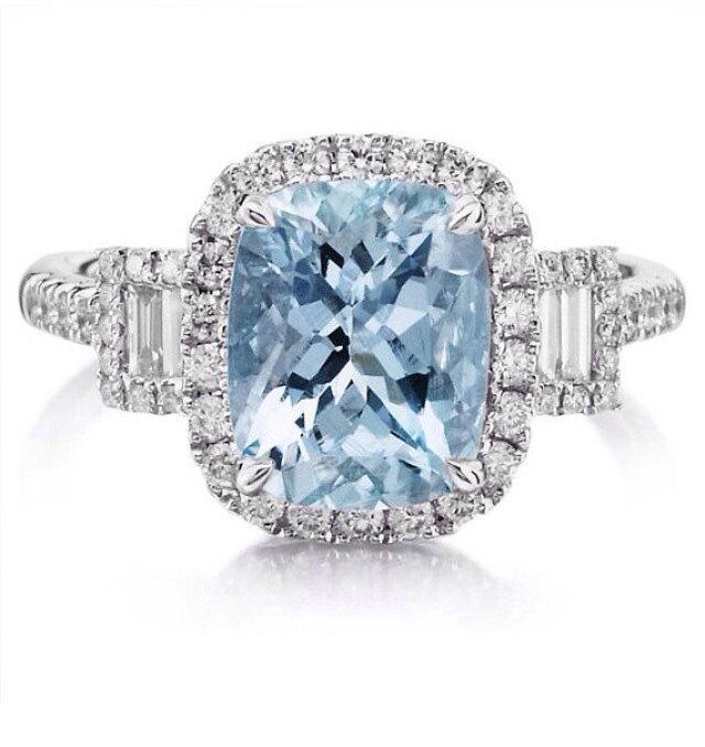Mariage - Aquamarine Engagement Ring 14kt White Gold 10x8 Center .56ct Diamonds Halo Engagement 3 Stone Anniversary Ring pristine Custom Rings