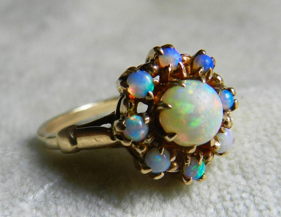 Opal Ring Australian Opal Halo Engagement Ring October Birthday Gift
