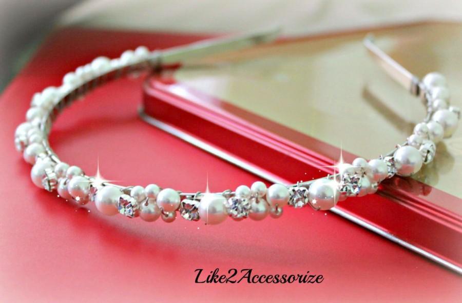 Свадьба - Swarovski Pearl White Ivory Headband Pearl Bridal Tiara Wedding Jewelry Bridal Head Piece Jeweled Rhinestones Wedding Bridesmaid Headband