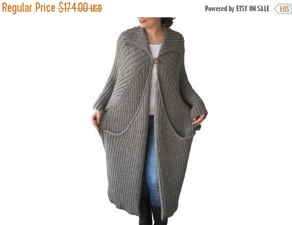 Nozze - WINTER SALE NEW! Hand Knitted Maxi Coat Cardigan with Big Pockets Tweed Brown - Ecru Blended Color Plus Size Over Size