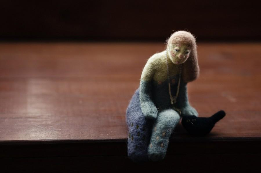Mariage - Needle felted doll, Lonely princess Fiona with a black cat, felted doll, wool felted sculpture
