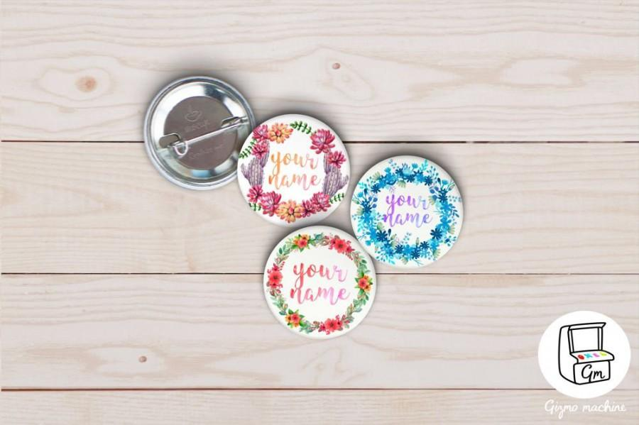 Boda - YOURS WORDS Birthday Mothers Valentines holidays Day gift personalized custom name floral wreath pins badge personality roses for her