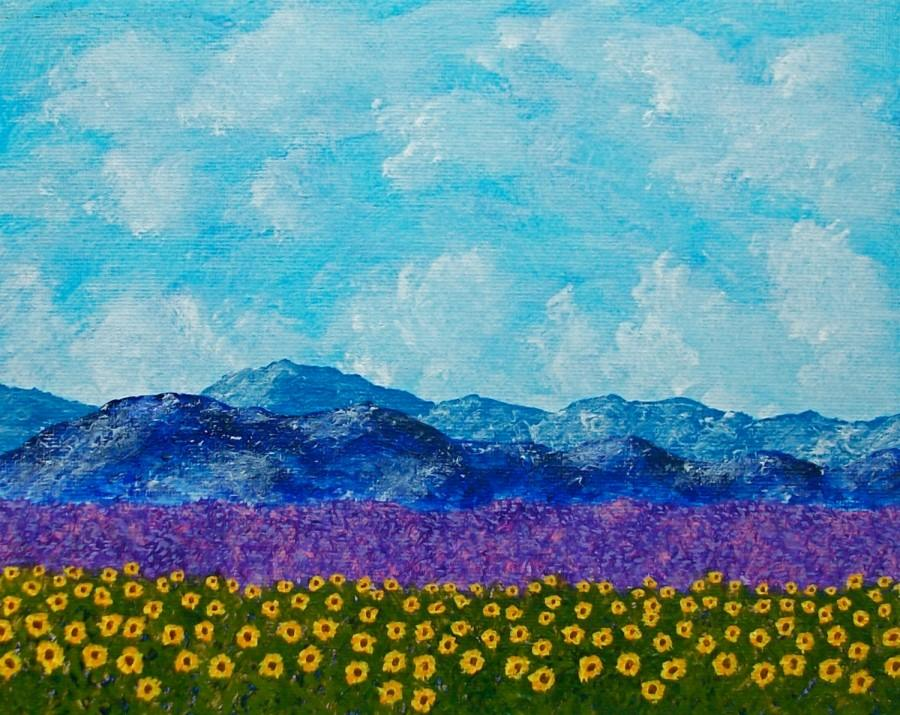 "Boda - Sunflowers and Lavender In Provence (ORIGINAL ACRYLIC PAINTING) 8"" x 10"" by Mike Kraus"
