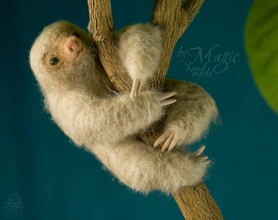 Wedding - Needle felted sloth toy, wool sloth, needle felt sloth, animal gift, cute sculpture, small sloth, two toed sloth, ecofriendly