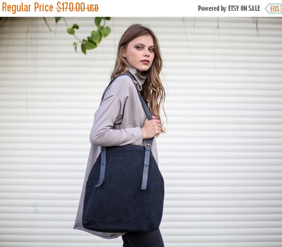 Wedding - Sale, Black Large Tote, Black Fabric and Leather Shoulder Bag with Adjustable Leather Straps, Shopping Bag, Everyday Tote Bag