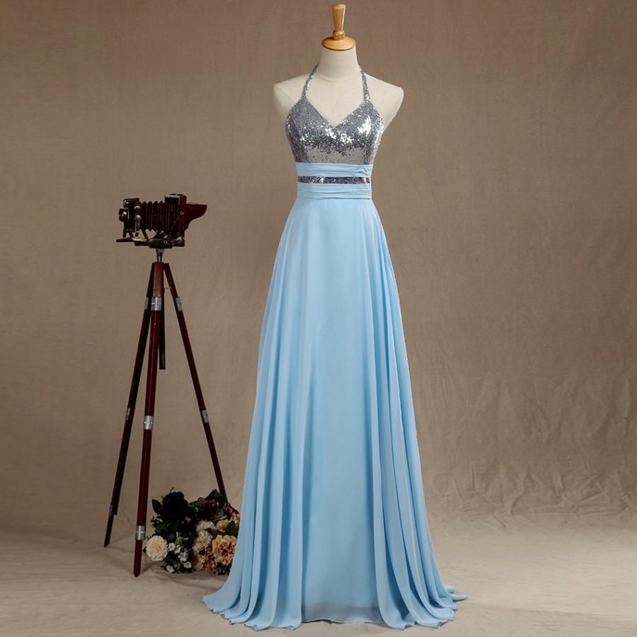 Wedding - Sequin Prom dress Long, Sliver Sequin Wedding dress, Halter Bridesmaid dress, Backless Eveing dress floor length