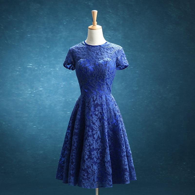 Mariage - Blue Bridesmaid dress, Lace Short Wedding dress, Lace Formal dress, Sleeves Party dress, Prom dress knee length