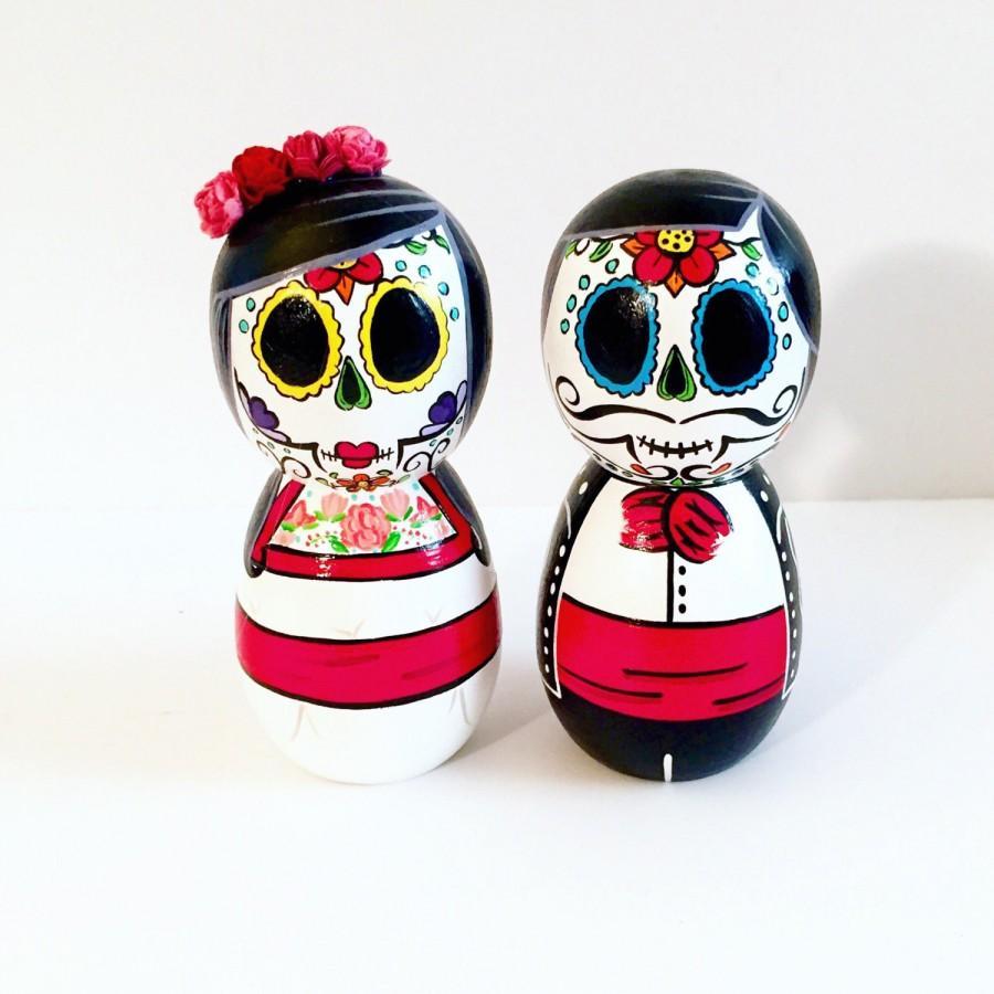 Day Of The Dead Sugar Skull Wedding Couple Wood Peg Dolls #2700439 ...