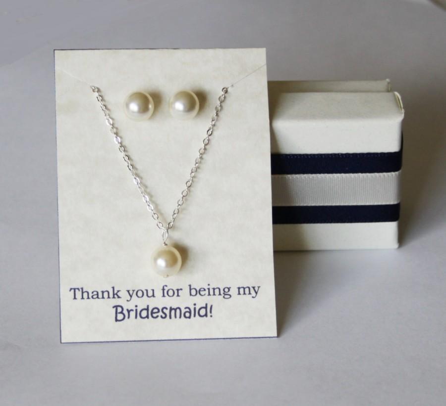 Mariage - Bridesmaid pearl SET- Pearl necklace and earrings SET- Pearl necklace- Pearl stud earrings 14K gold -Bridesmaid Set of 5, 6, 7, 8, 9, 10, 11