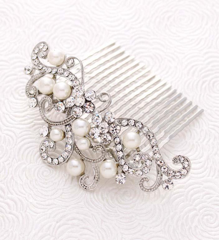 Свадьба - Bridal Veil Comb, Wedding Veil Headpiece, Crystal Bridal Hair Comb, Pearl Wedding Comb, Rhinestone Silver Combs, Crystal Pearl Hair Clip